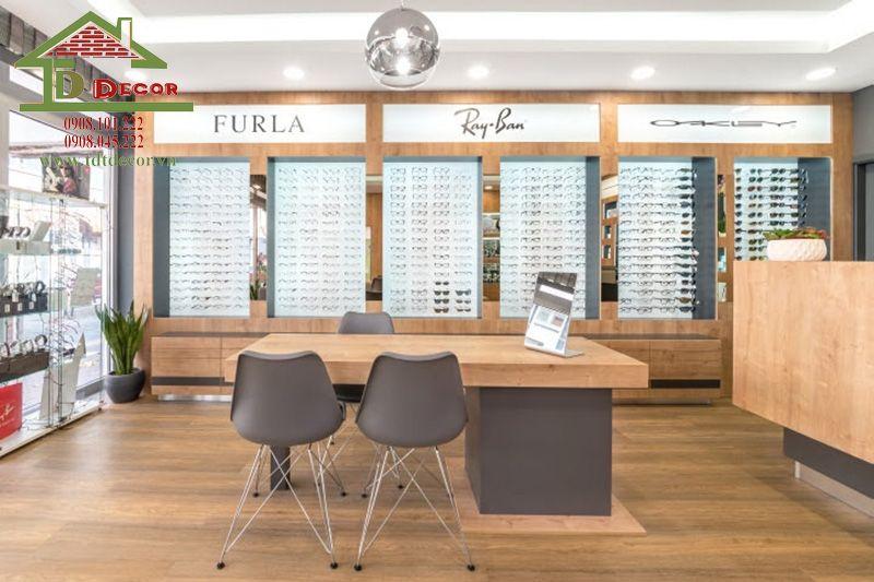 thiết kế kệ shop mắt kính