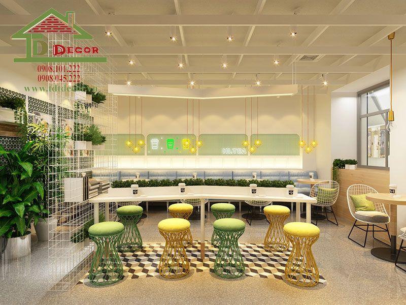 Ý tưởng thiết kế quán trà sữa 50m2 đẹp giá rẻ hút khách