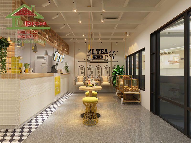 thiết kế quán trà sữa 50m2